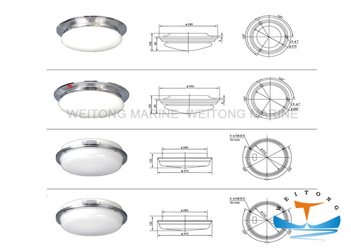 60W Indoor Round Incandescent Marine Lighting Equipment Steel Material