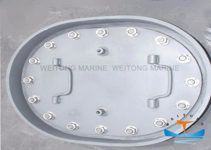 Quick Acting Marine Steel Manhole Cover Easy Operation 800x400mm Oval Shape