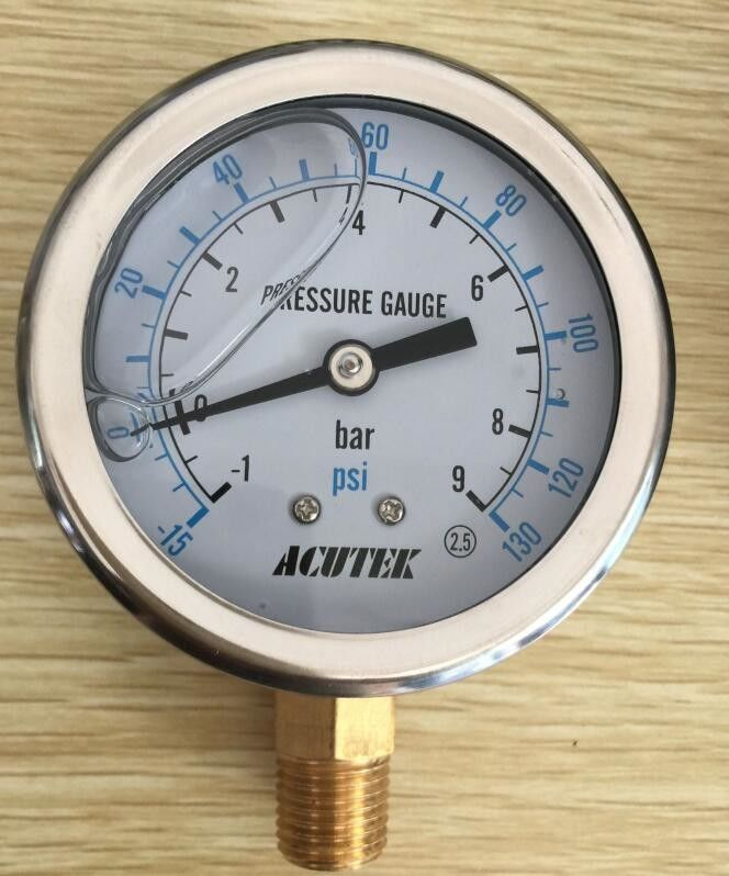 En837-1 Yn-100 Oil Filled Marine Industrial Pressure Gauge Direct Mounting