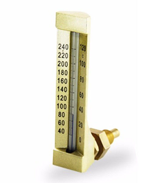 90 Degree Angle Glass Marine Thermometer Metal Case V Line Shape